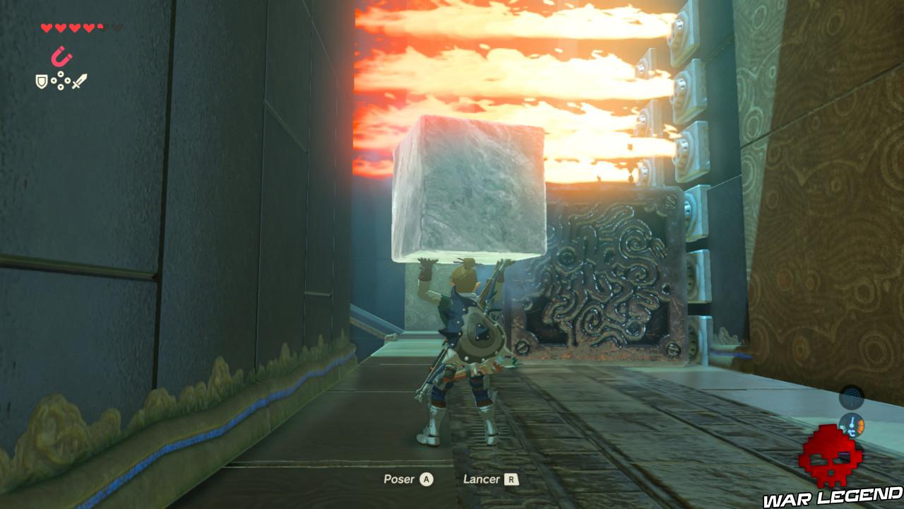 Soluce The Legend of Zelda: Breath of the Wild - Les créatures divines partie 3 cube métallique bloque flammes