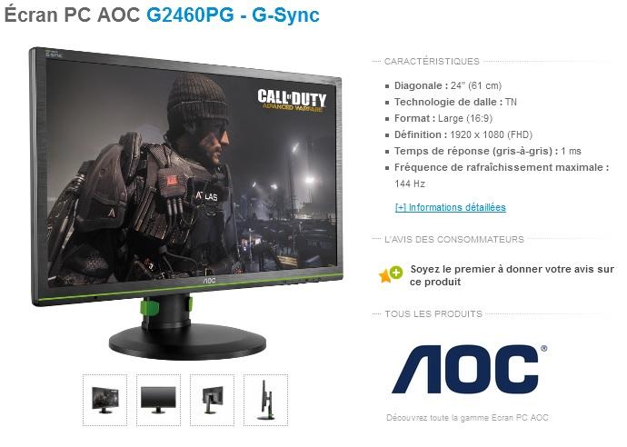 test aoc g2460pg ecran gamer g sync. Black Bedroom Furniture Sets. Home Design Ideas