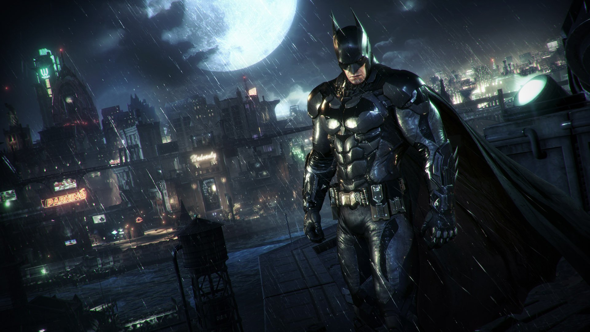 Batman sur un toit de Gotham City