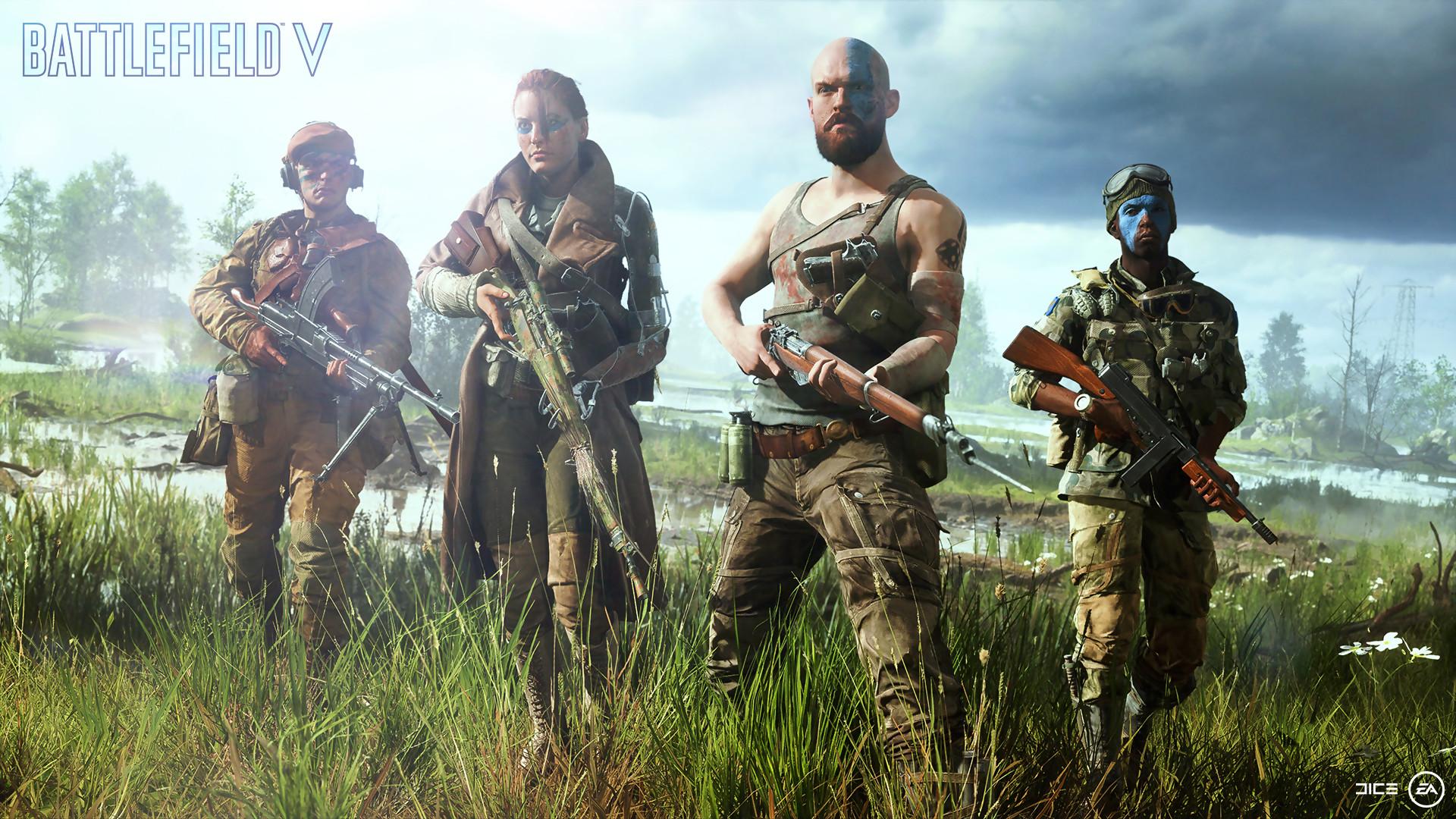 Battlefield V - Quatre soldats, armes à la main