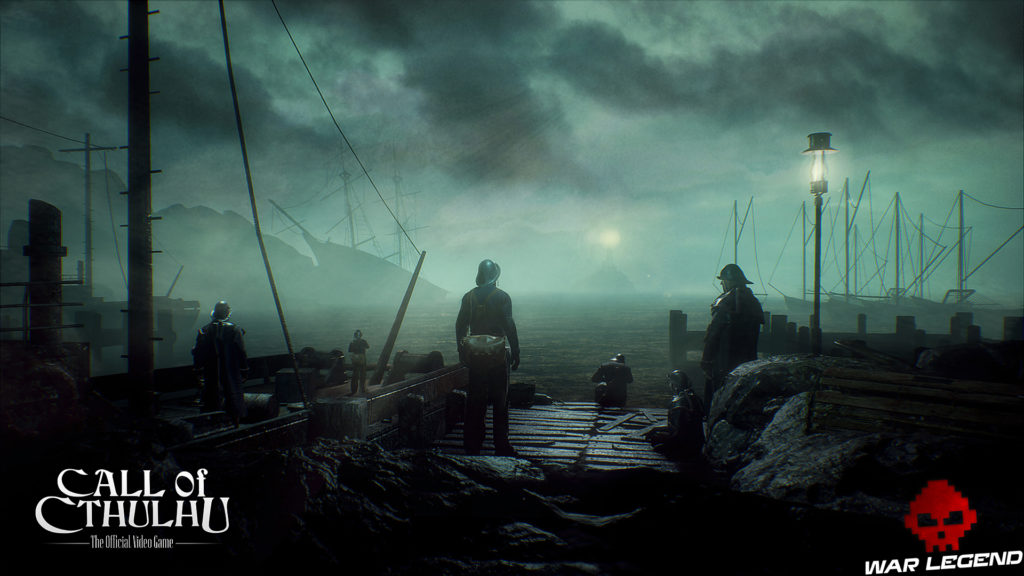 Call of Cthulhu - Des screenshots groupe d'hommes devant la mer, phare au loin