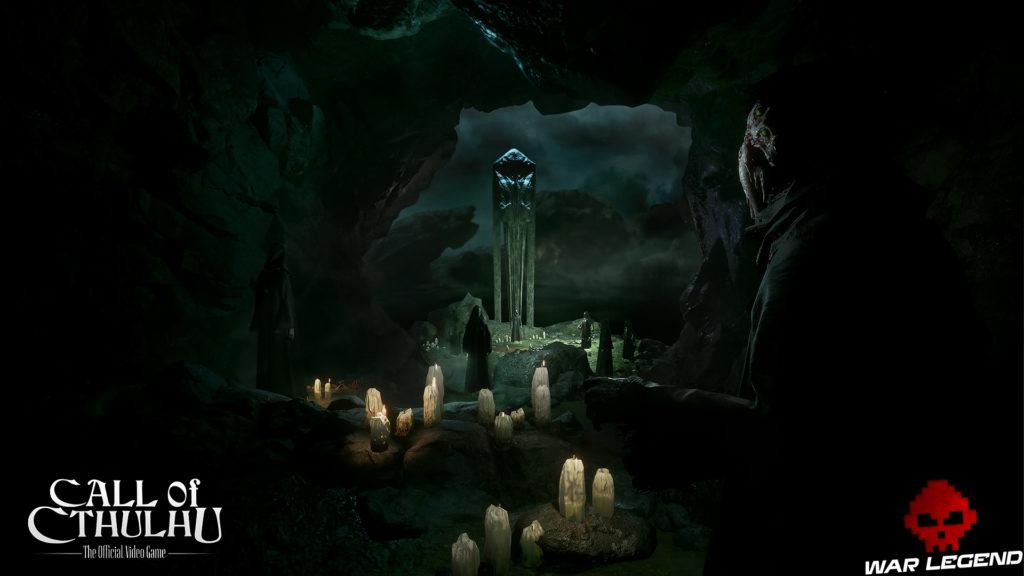 Call of Cthulhu - Des screenshots bougies dans une grottes, monstres encapuchonnés
