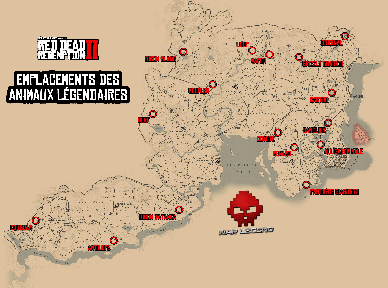 guide red dead redemption 2 guide de la chasse - emplacements des animaux legendaires