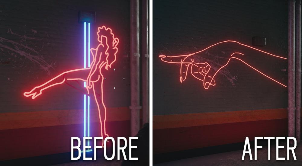 néon de Rainbow Six: Siege avant et après censure