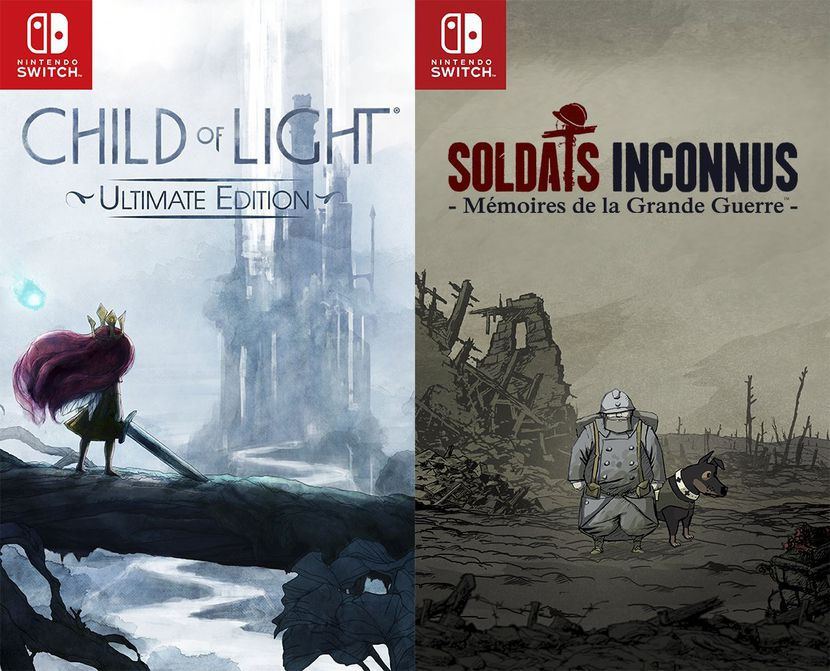 jaquettes Switch de Child of light et Soldats Inconnus