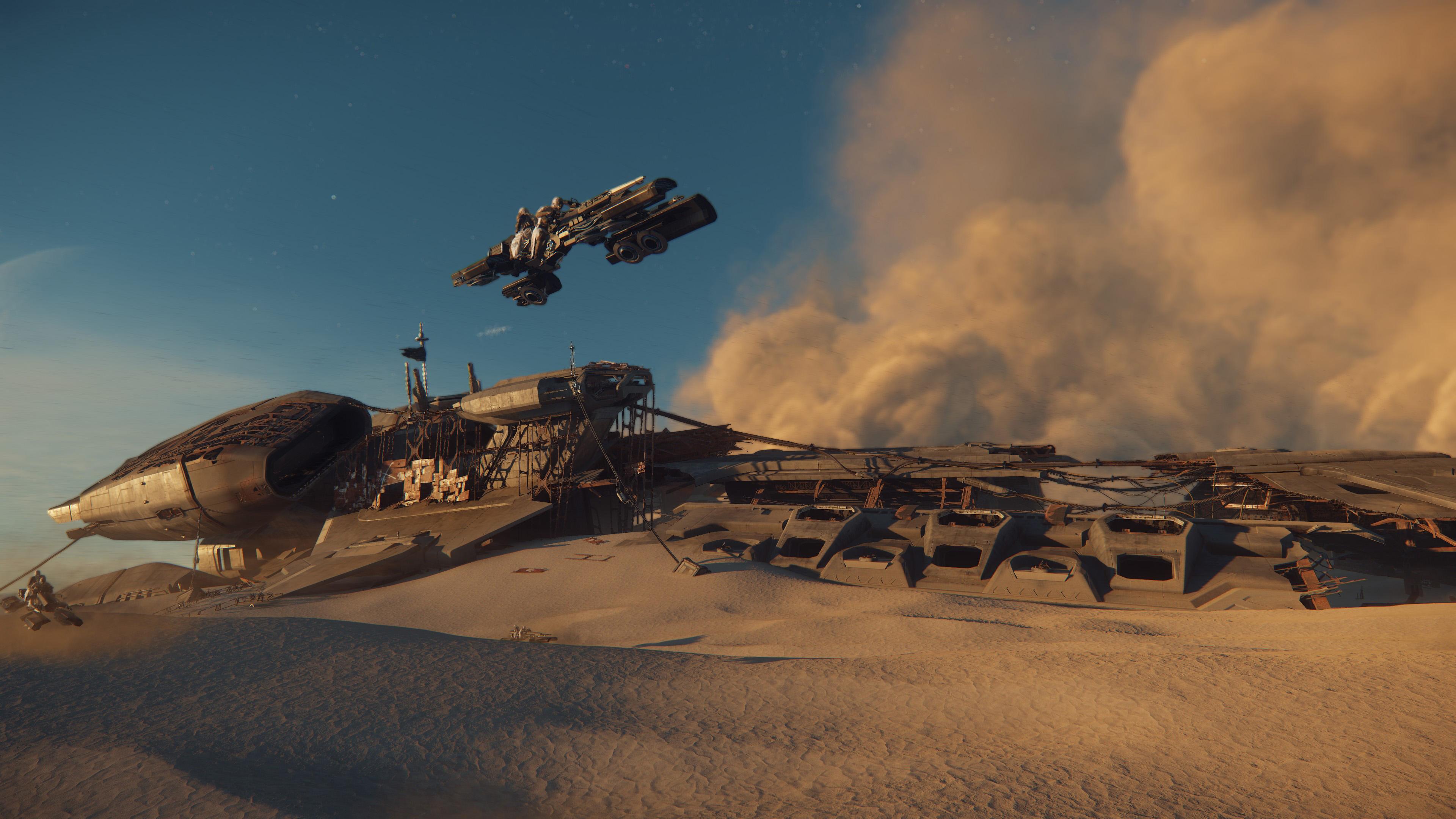 Un vaisseau qui décolle d'une planète désertique
