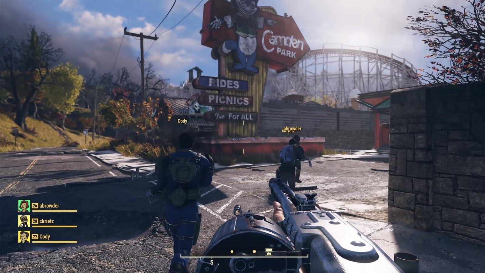 Vue Première personne avec mitraillette Fallout 76