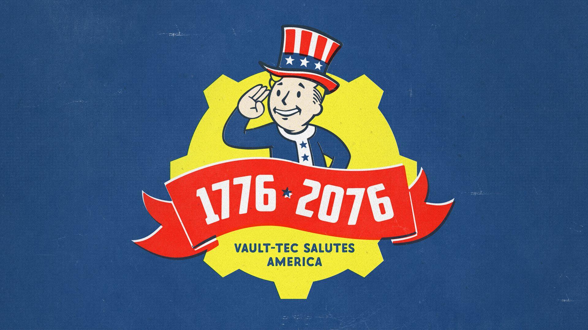 Le Vault Boy avec l'inscription 1776-2076 dessous.