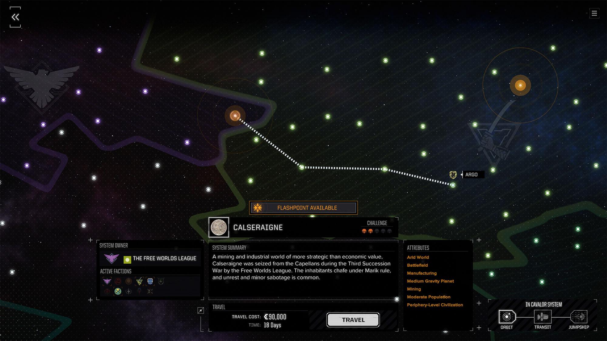La carte stellaire avec une mission flashpoint