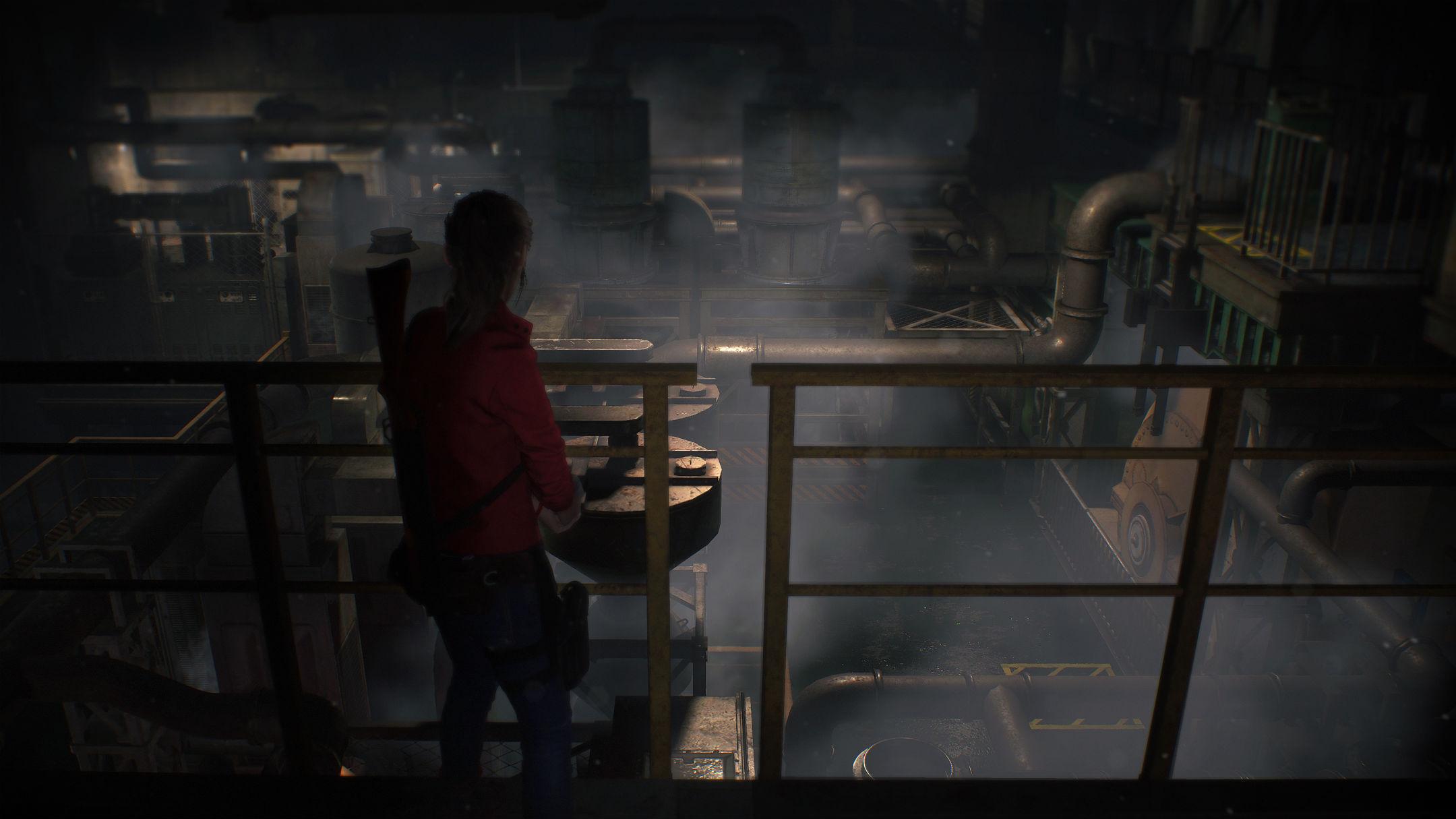 Claire Redfield devant de nombreux tuyaux Resident Evil 2 Remake