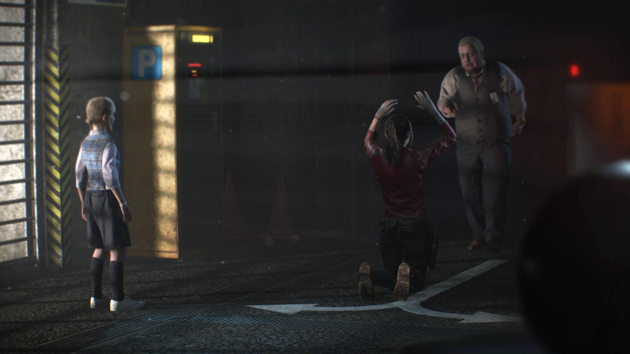Sherry regardant Claire Redfield à genoux, mise en joug par un homme Resident Evil 2 Remake