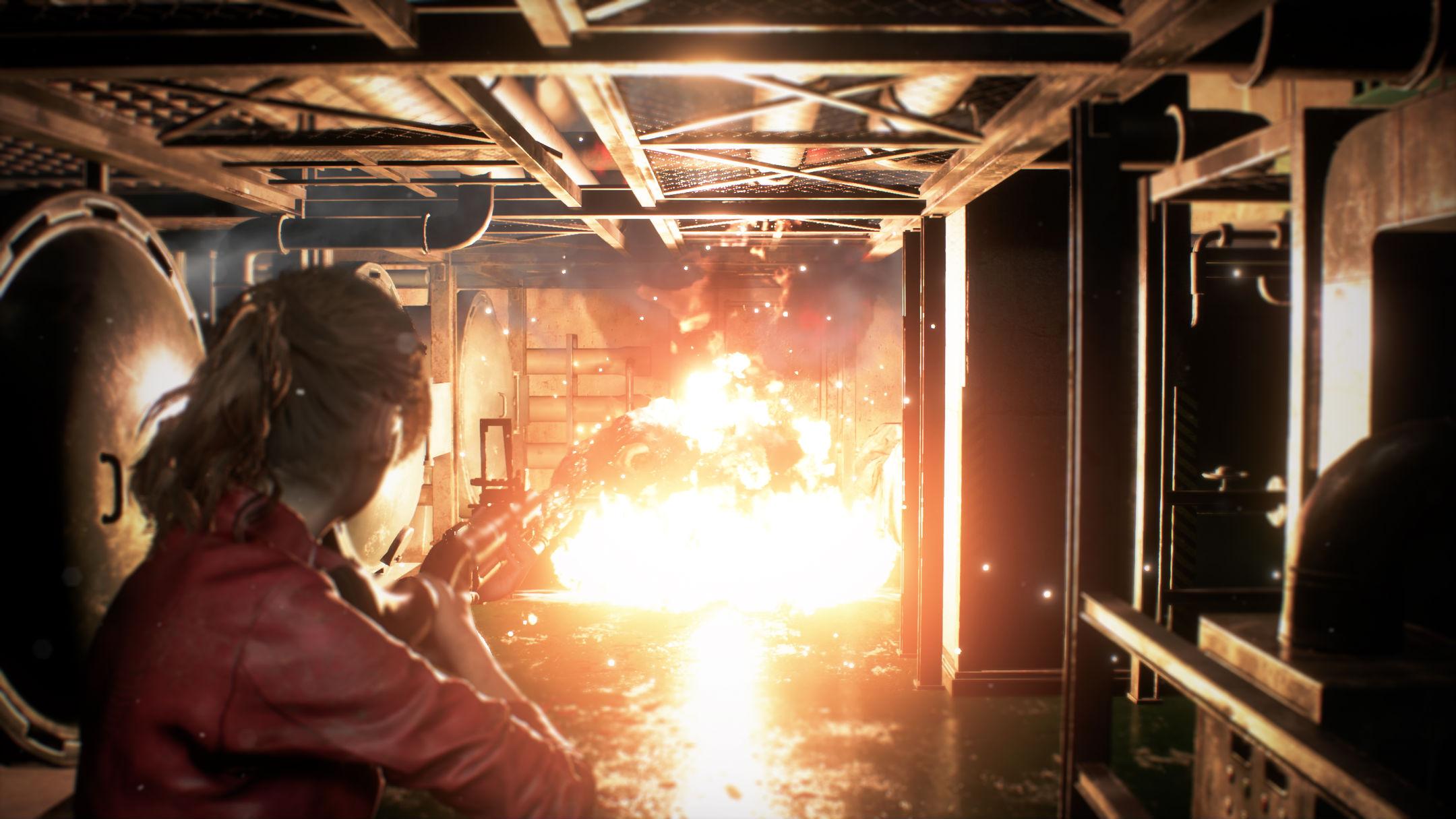 Claire face à une explosion Resident Evil 2 Remake