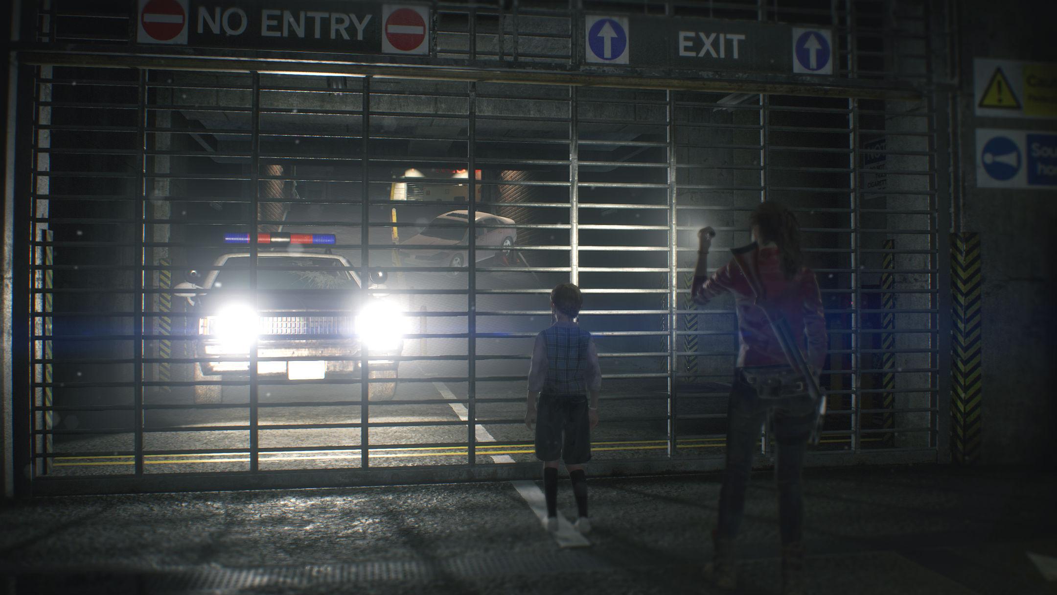 Grille séparant une voiture de police de Claire Redfield et Sherry Resident Evil 2 Remake