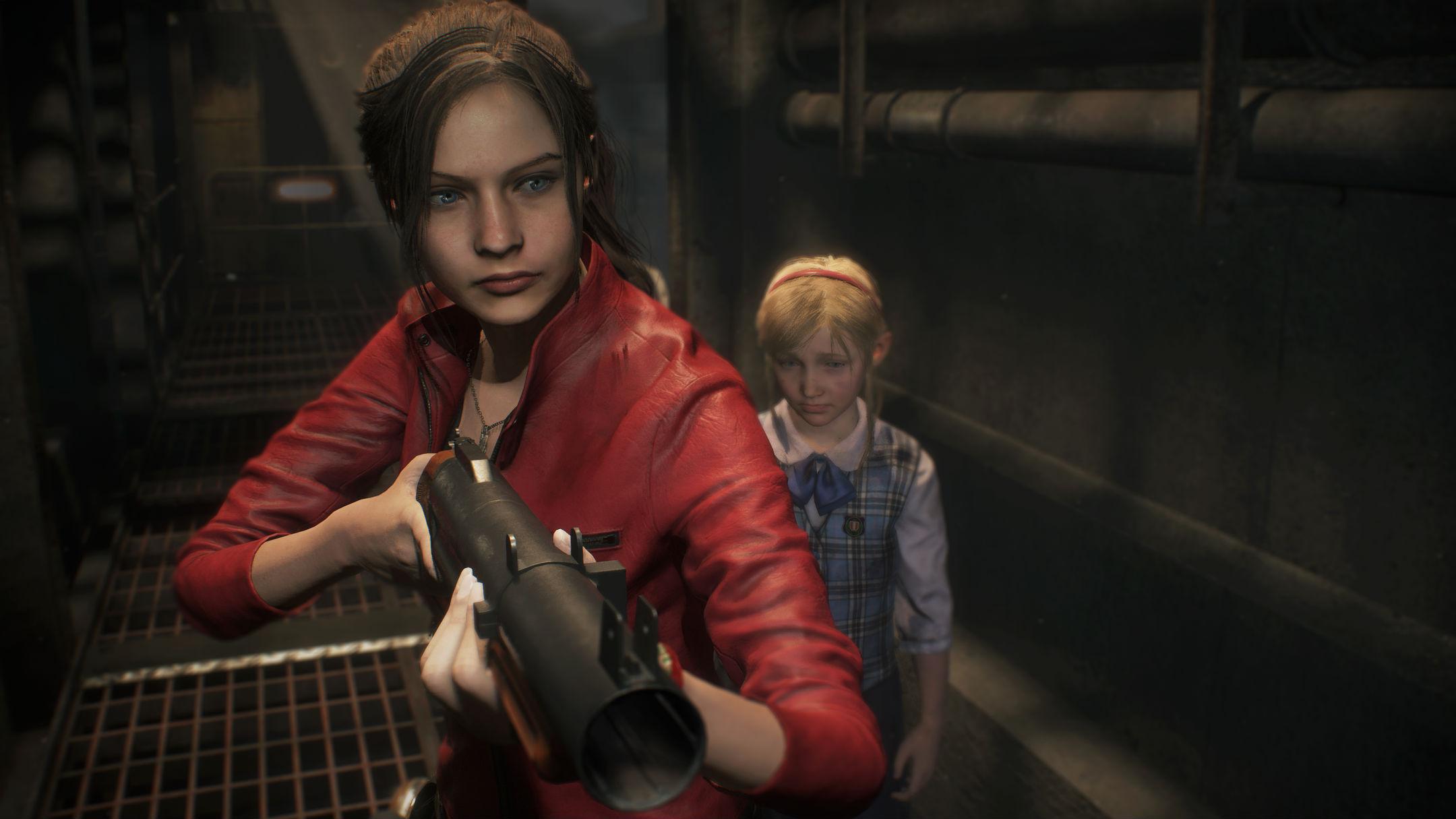 Claire Redfield armée devant Sherry Resident Evil 2 Remake