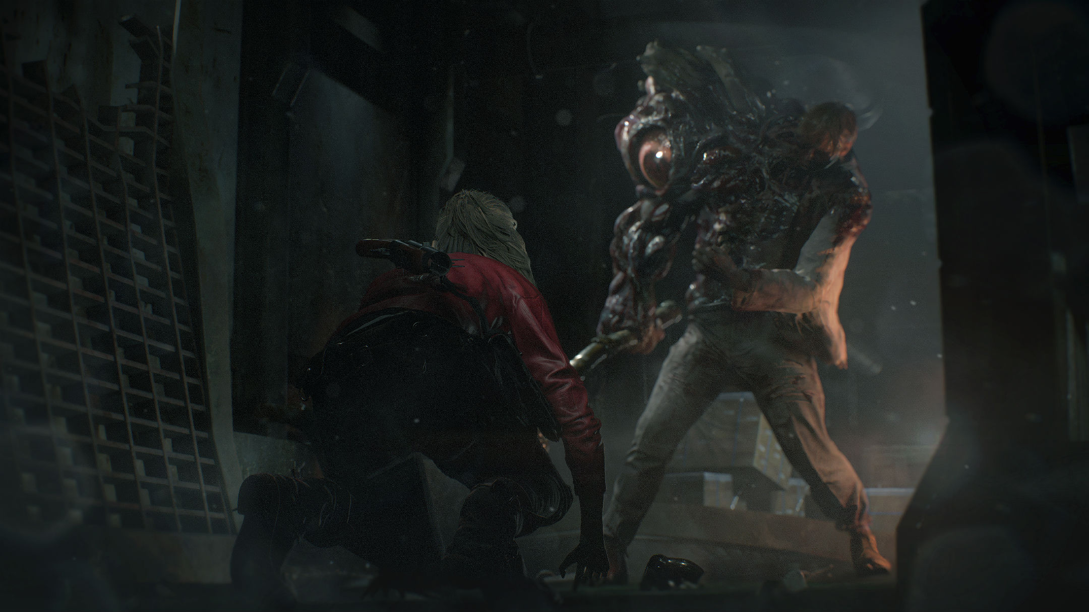 Claire Redfield accroupie face à un monstre Resident Evil 2 Remake