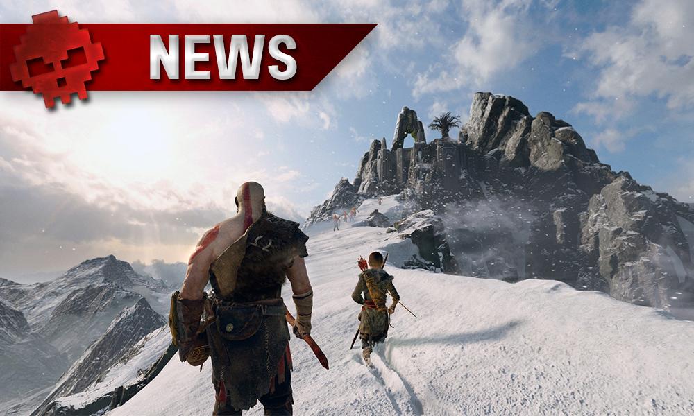 Kratos et Atreus marchent sur un pic enneigé