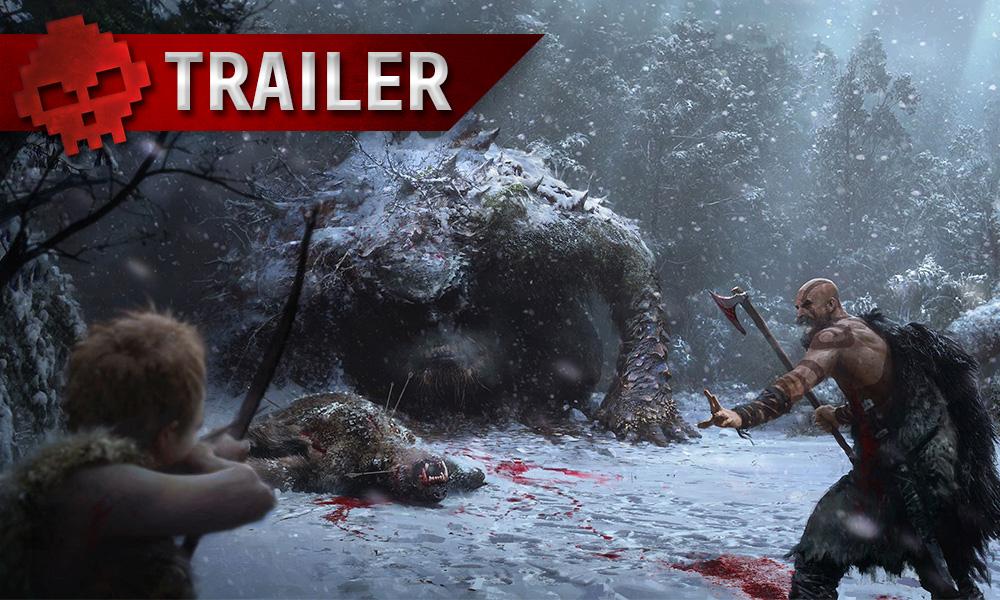 Kratos et sons fils en face une créatures étranges