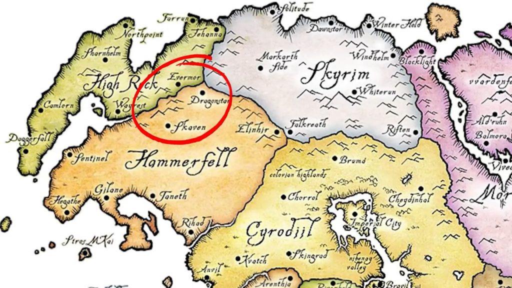 La carte de Tamriel montrant notamment la région d'Hammerfell