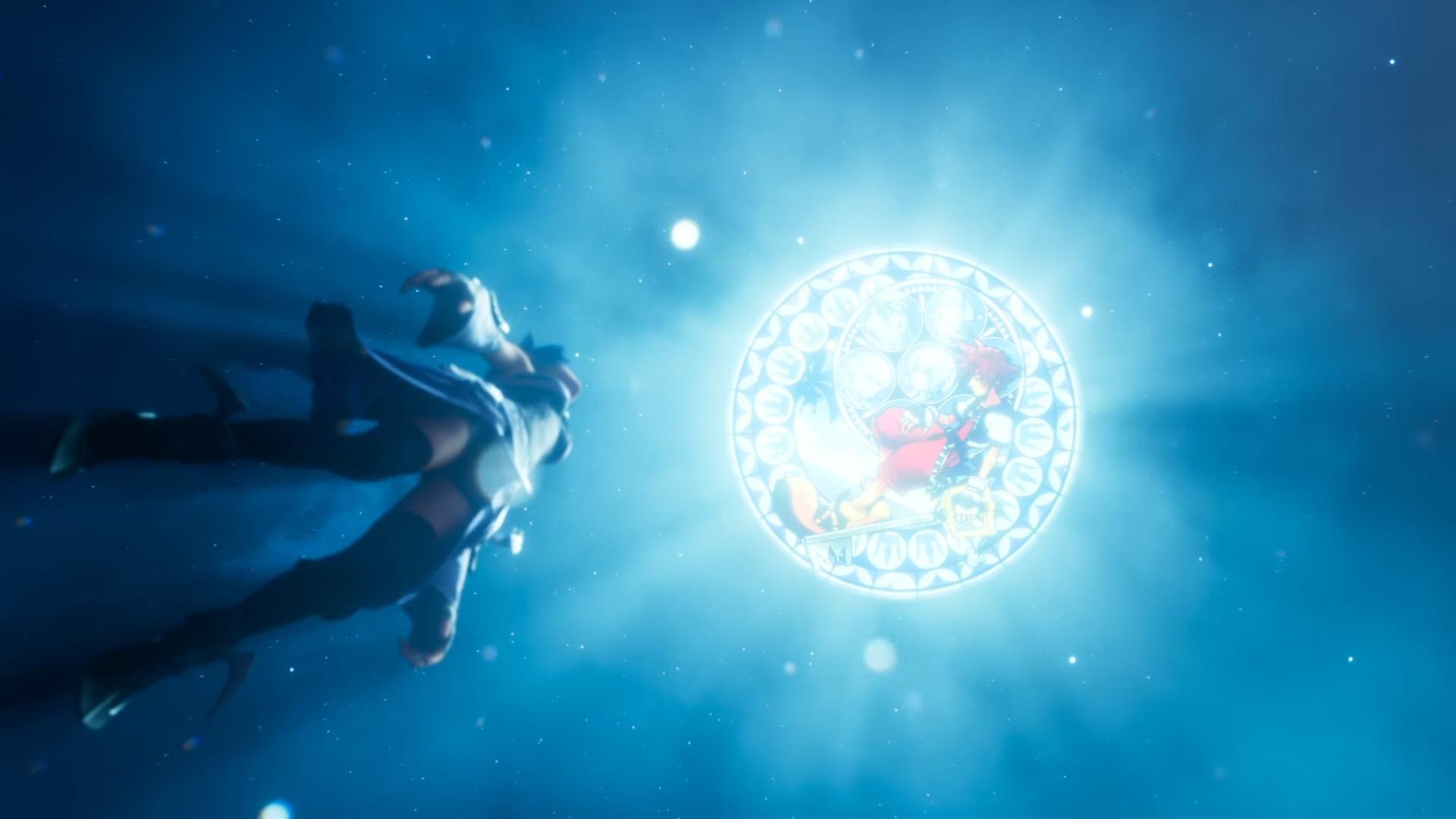 Aqua tombant vers un vitrail de Sora