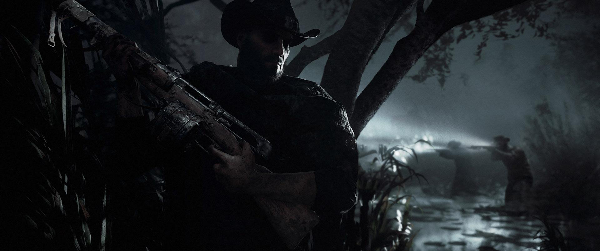 Un chasseur caché, près à prendre un groupe ennemi à revers