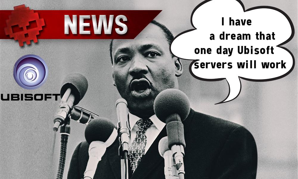 Ubisoft - La firme subit d'intenses problèmes de serveurs - Logo Ubisoft + Martin Luther King