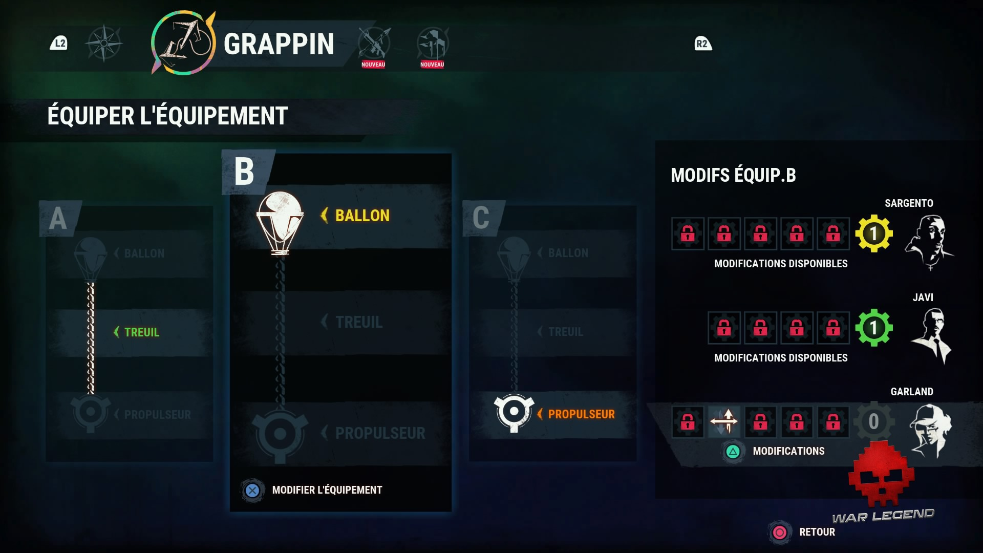 Menu des modifications du grappin