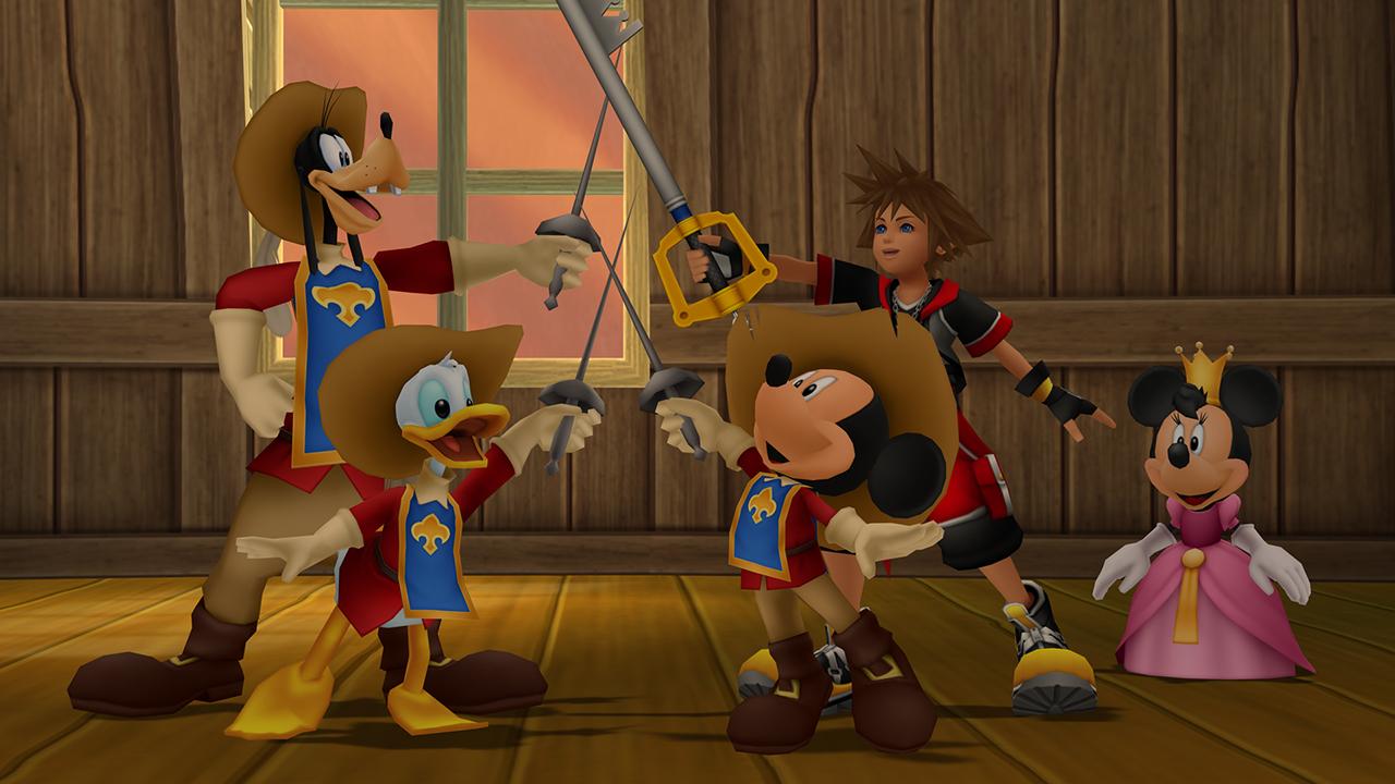 """Donald, dingo, mickey et Sora faisant le """"un pour tous, tous pour un""""."""