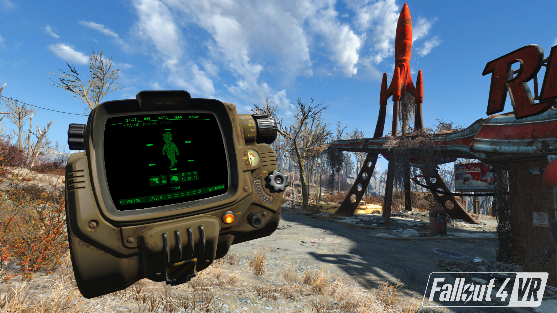 Fallout 4 VR, pip-boy levé devant les yeux du joueur