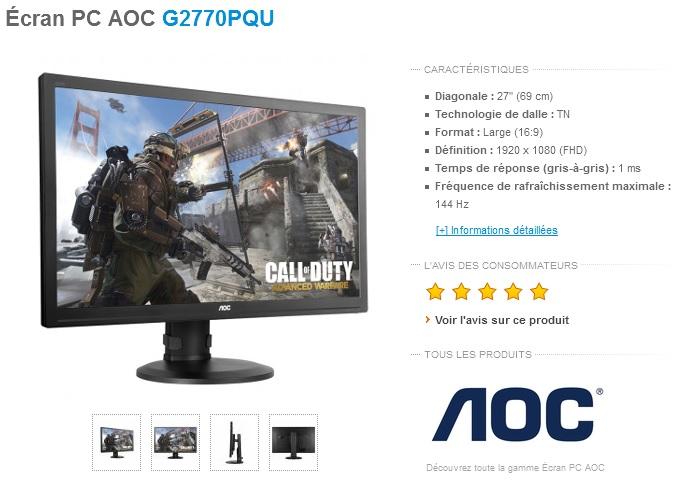 Test aoc g2770pqu ecran gamer full hd 27 144hz for Test ecran pc 27 pouces