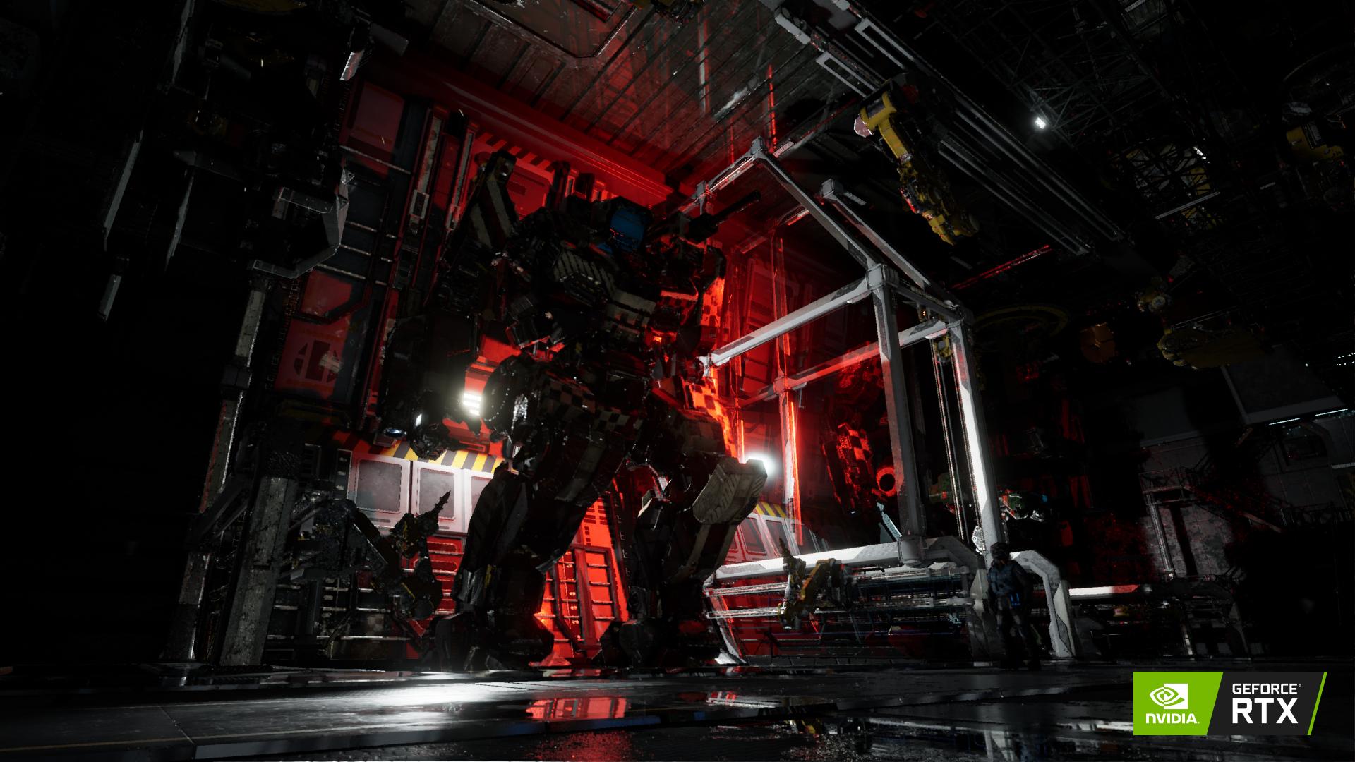 Shadow Hawk sous une douce lumière discrète du hangar