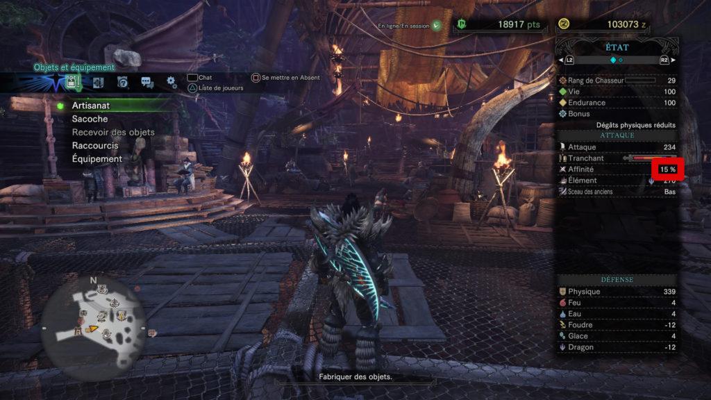 Image montrant où trouver l'affinité sur Monster Hunter World