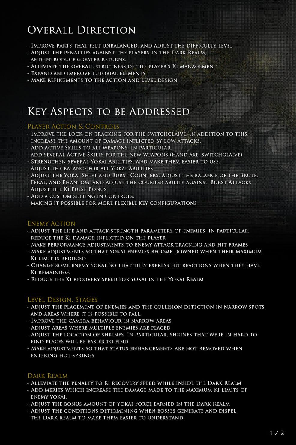 Changements apportés à Nioh 2 page 1