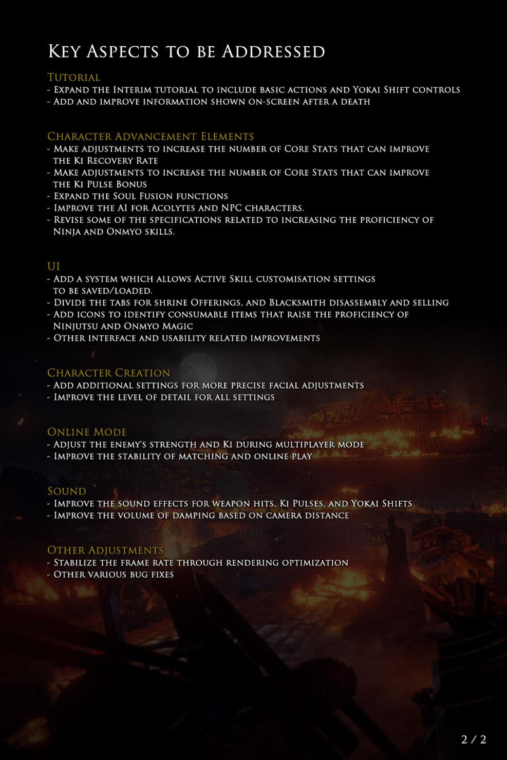 Changements apportés à Nioh 2 page 2