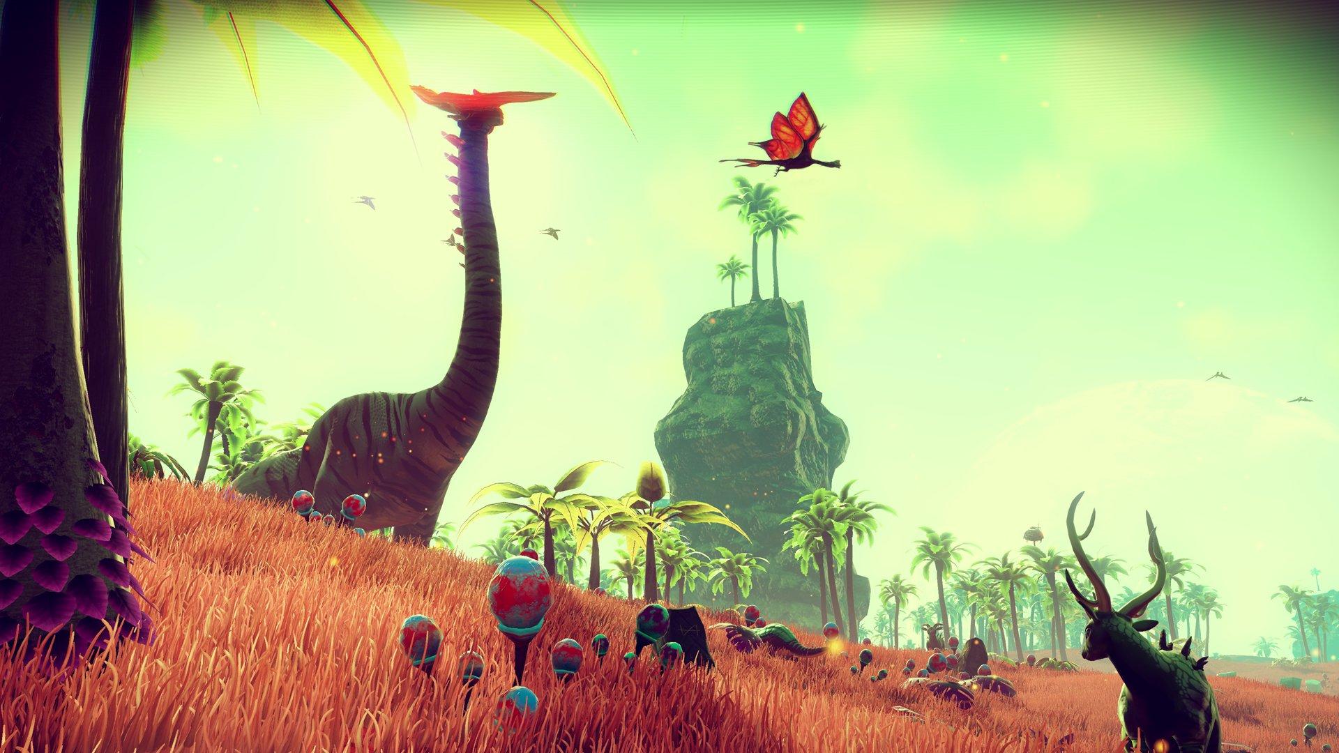 No Man's Sky - Dinosaure et papillon