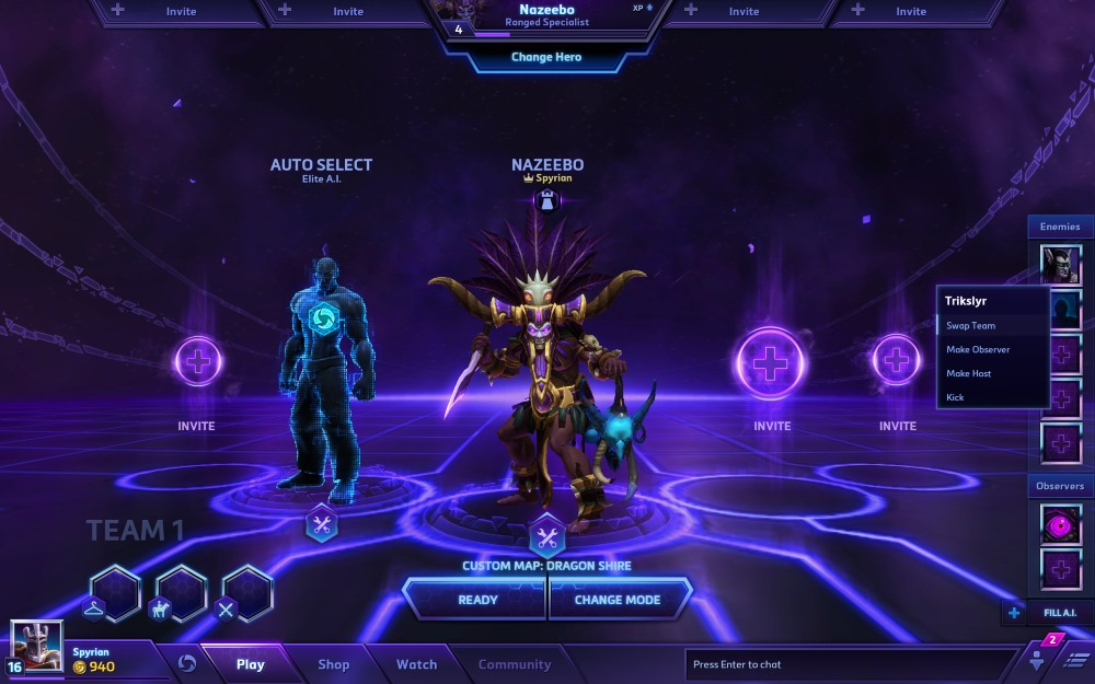parties personnalisées heroes of the storm