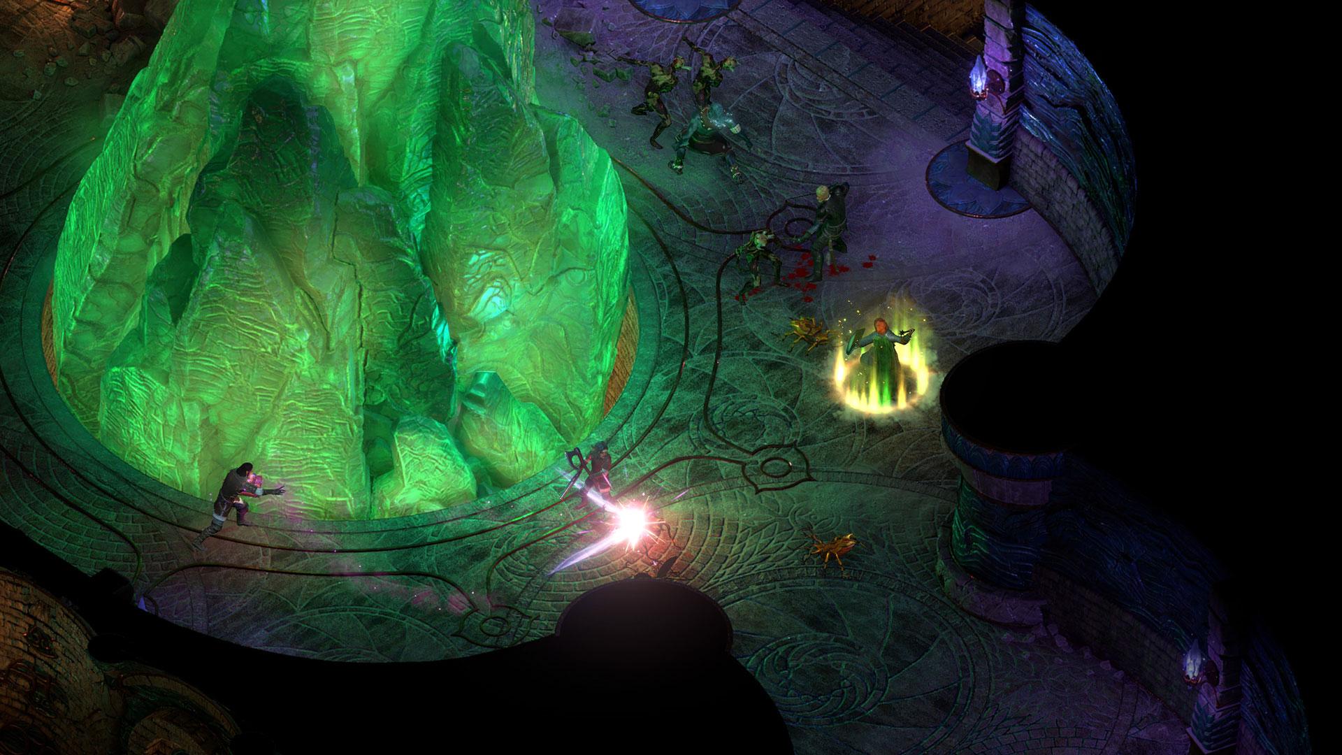 Un groupe d'aventurier combat autour un gigantesque crystal vert
