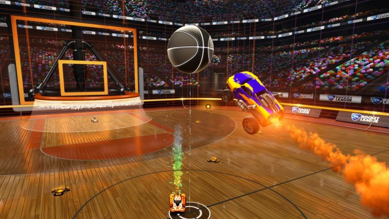 Rocket League voiture attrape balle en vol