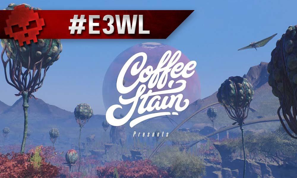 Le logo de coffeestain sur un fond de Satisfactory