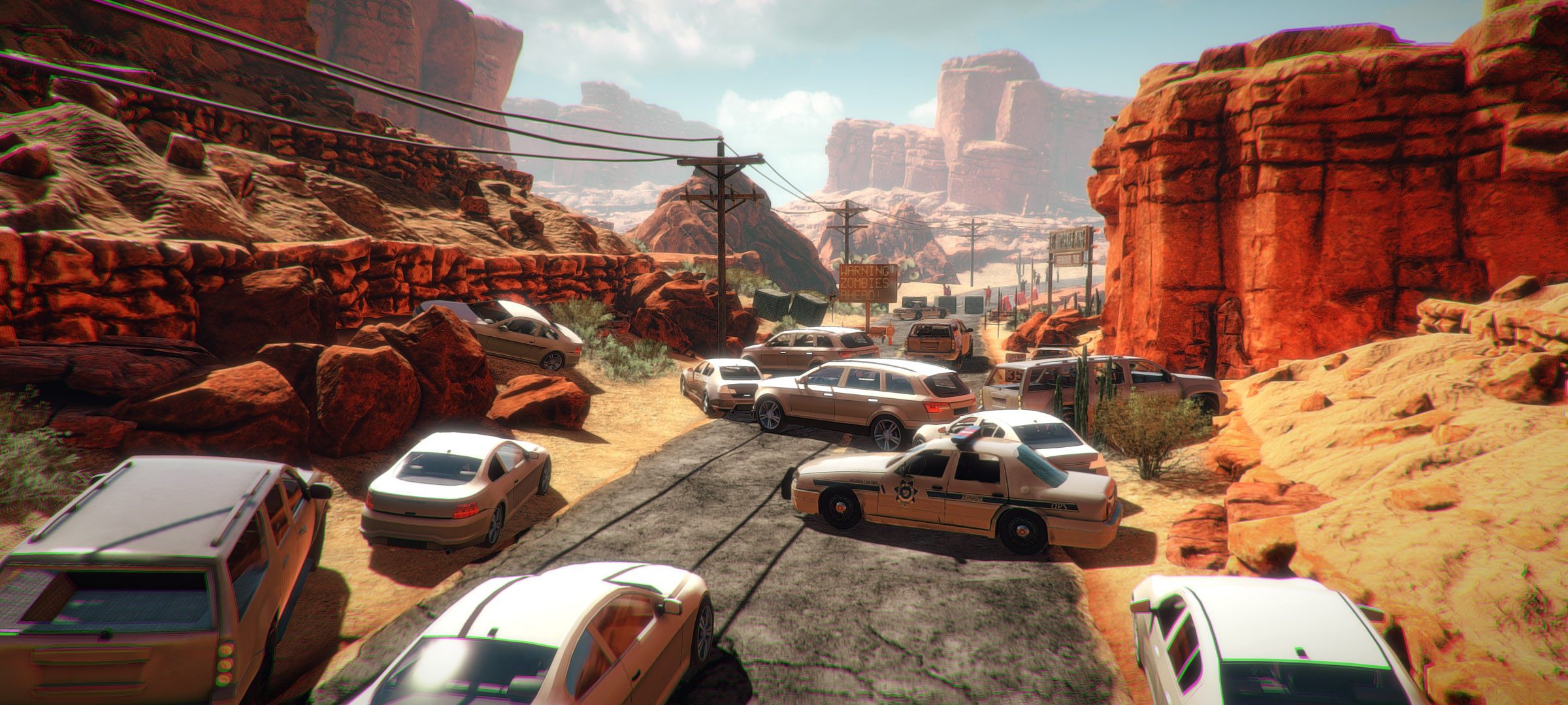 arizona sunshine nombreuses voitures abandonnées en travers d'une route dans le désert