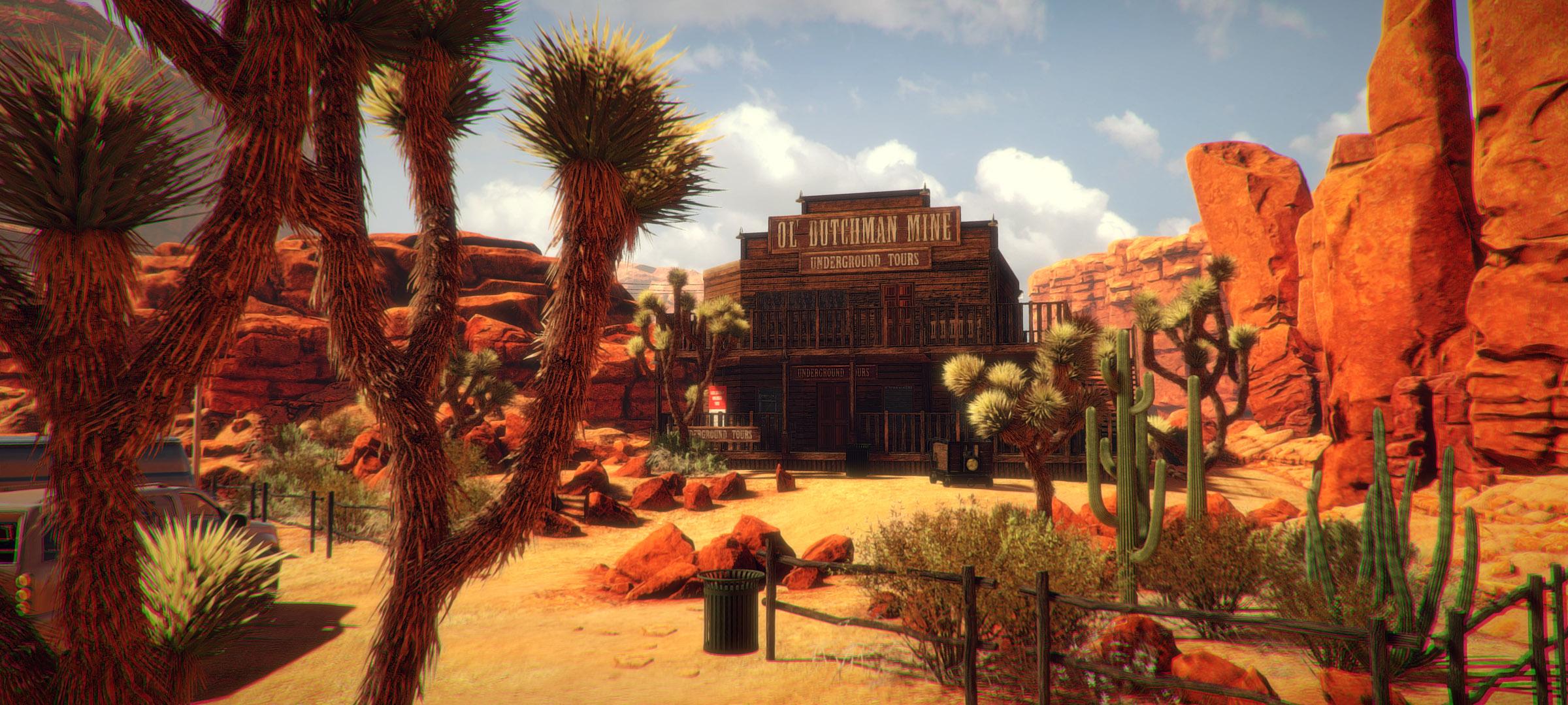 arizona sunshine paysage désertique, bâtiment au milieu des cactus