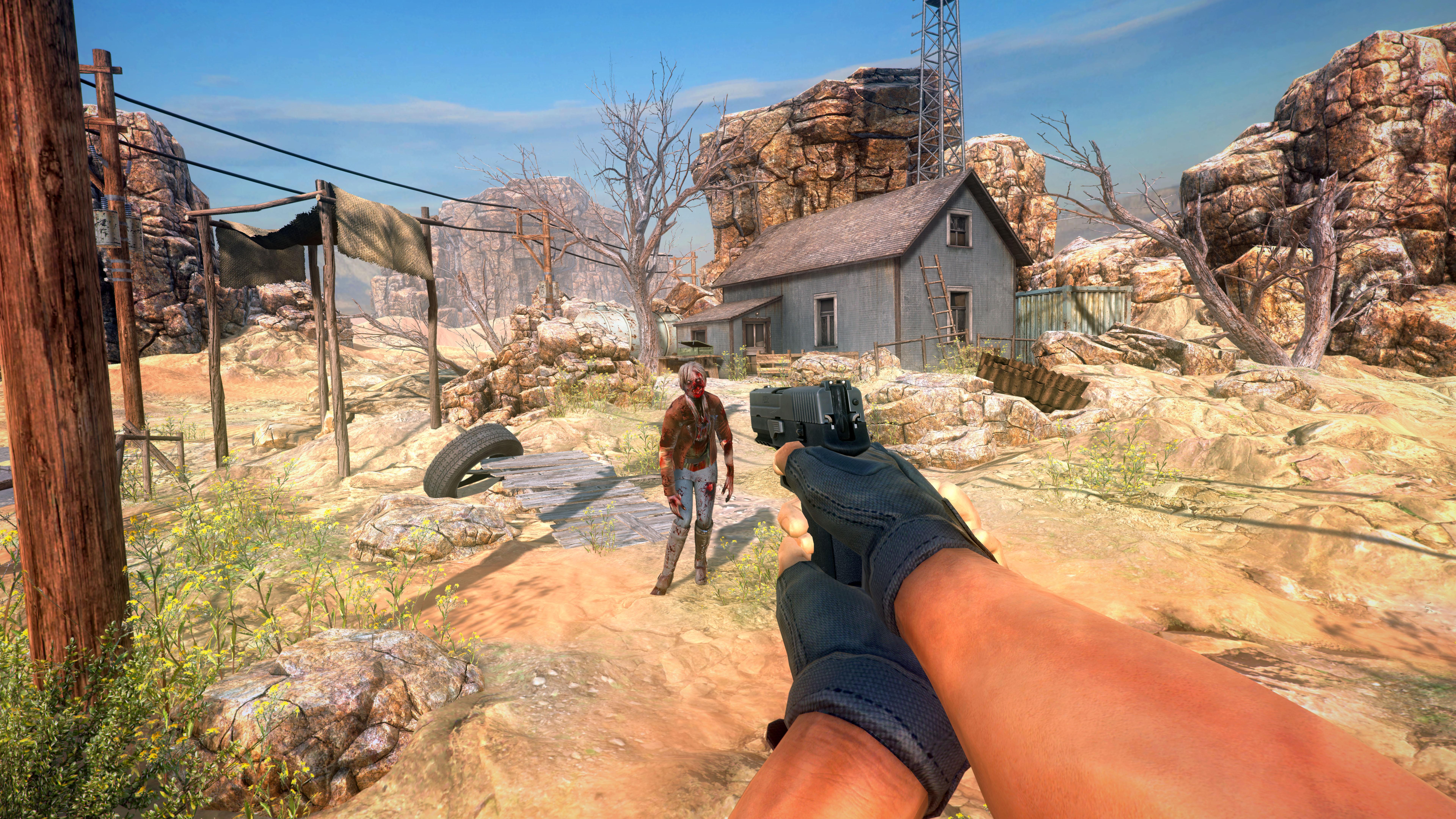 pistolet pointé sur un zombie, paysage désertique, maison isolée