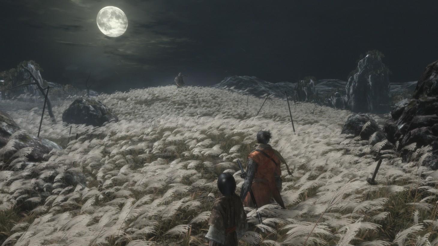 Sekiro Shadows Die Twice champ à la pleine lune