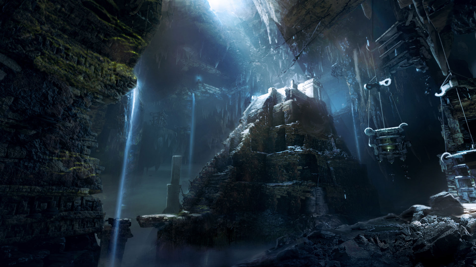 Grotte, python rocheux au centre avec escalier en pierre Shadow of the Tomb Raider artwork