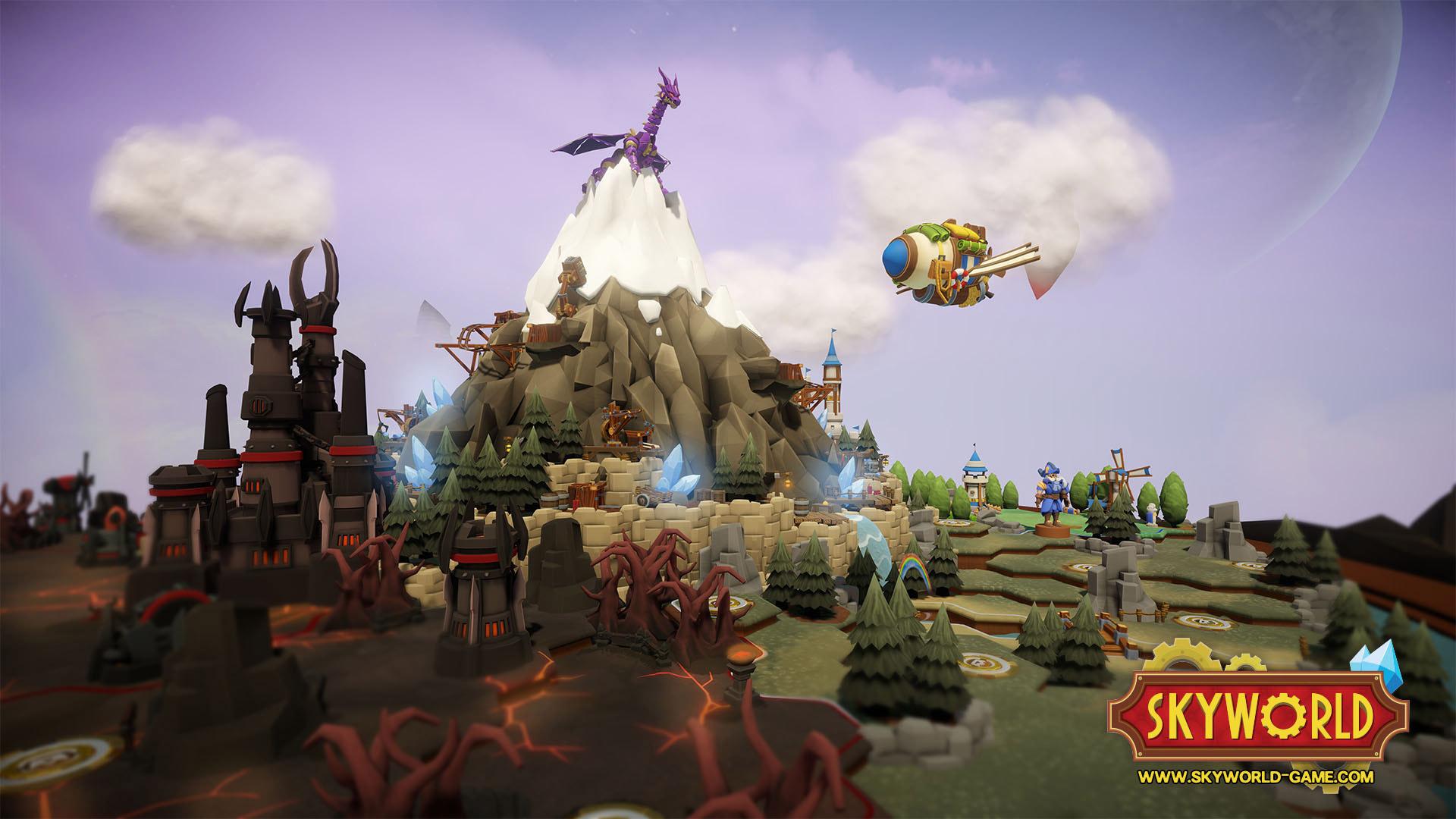 Dragon juché sur une montagne, territoire des démons à gauche, neutre à droite