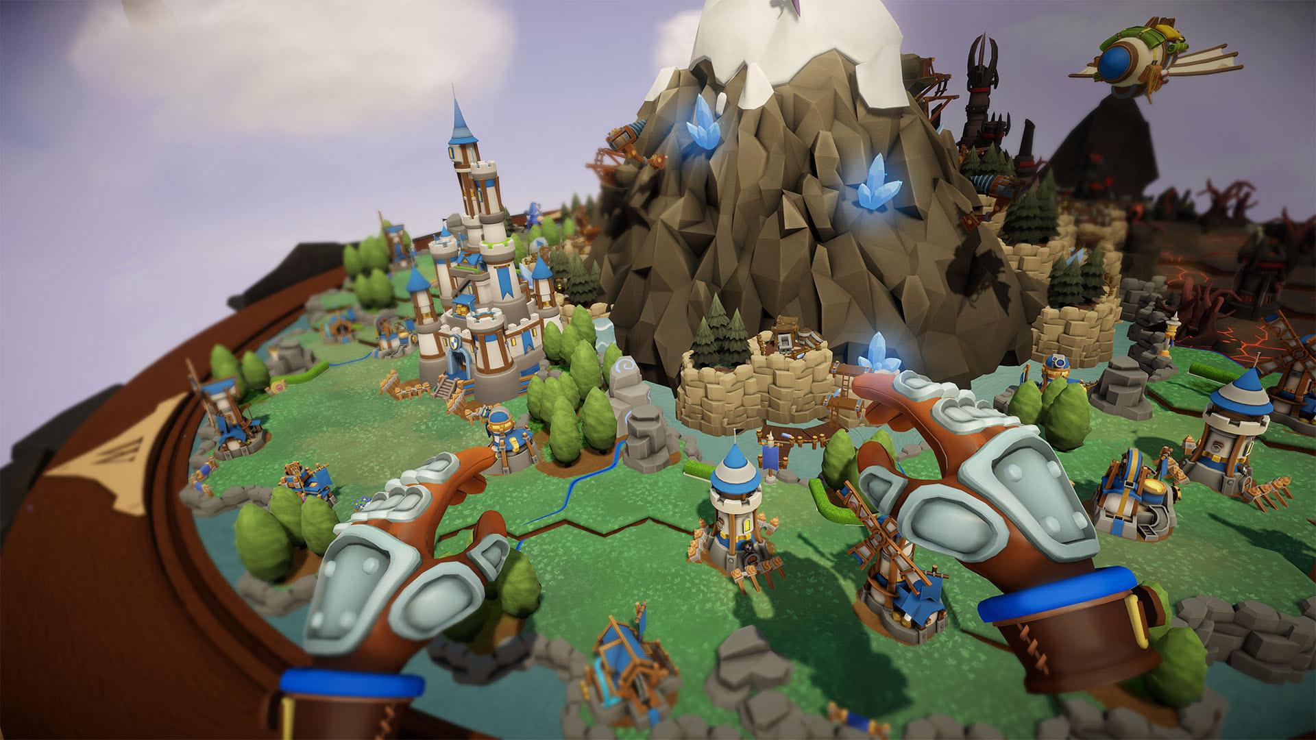 Les mains du joueur au-dessus de son territoire dans Skyworld