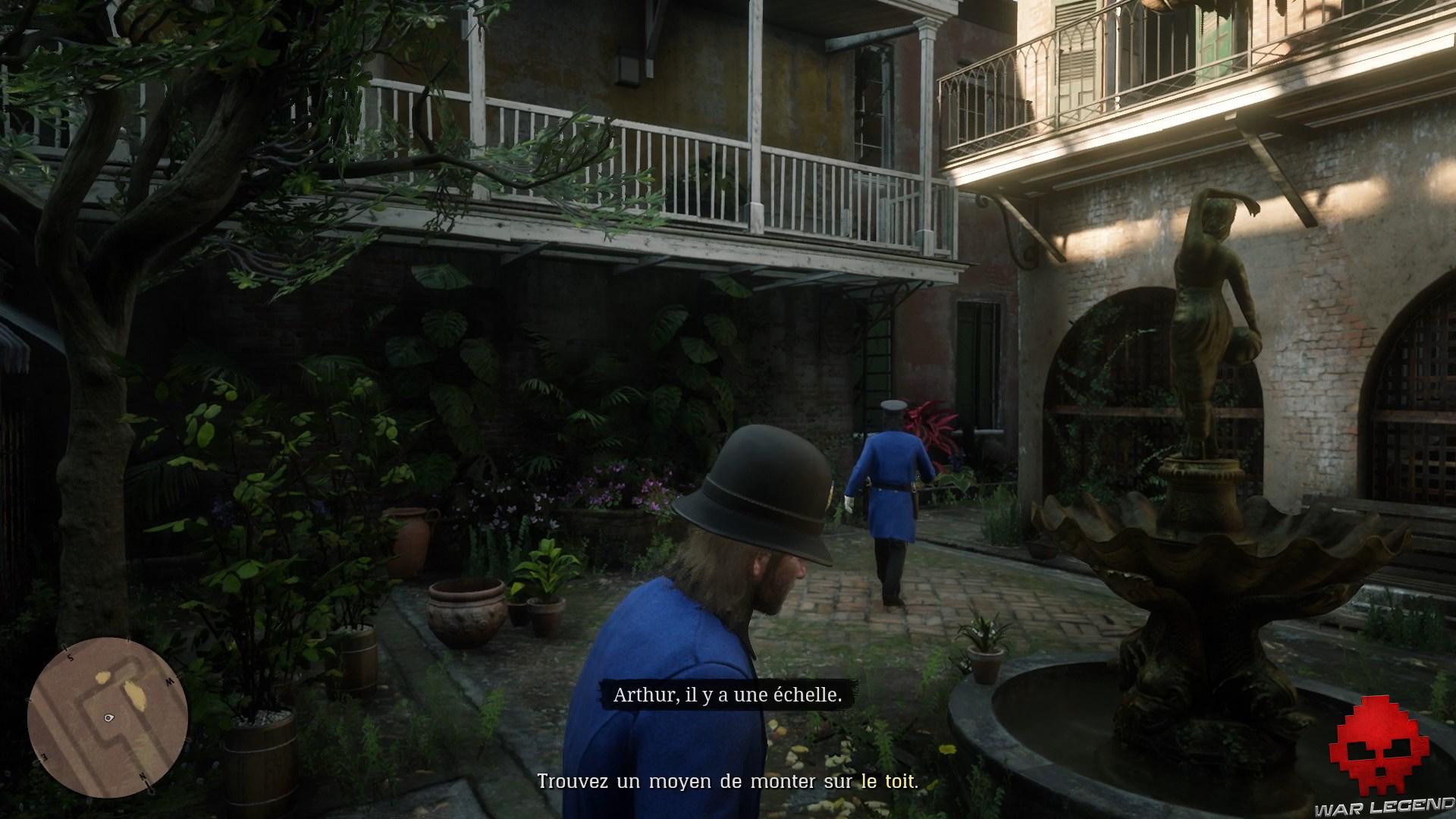 soluce red dead redemption 2 adieu fidèle ami arthur et dutch déguisés en policier dans une cour intérieure