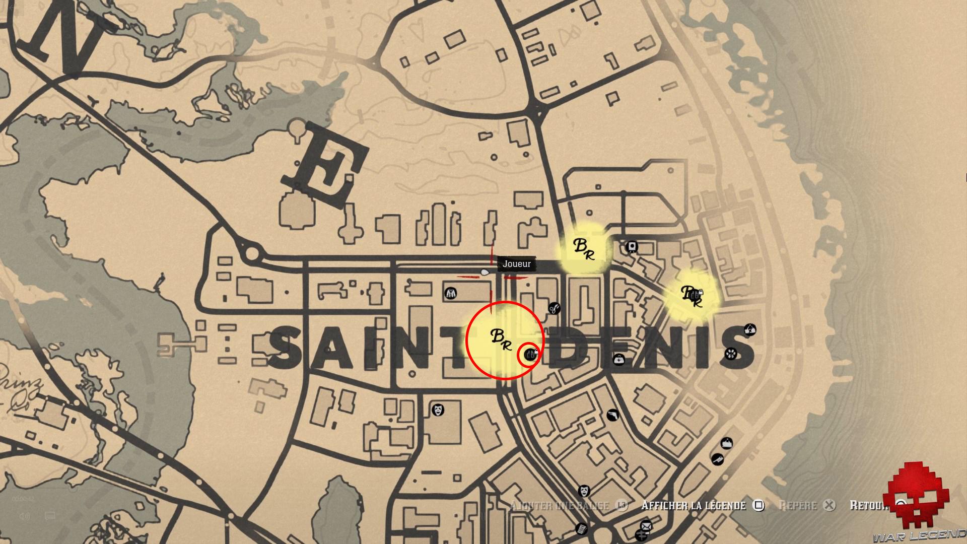 soluce red dead redemption 2 les joies de la civilisation carte de saint-denis, saloon entouré en rouge