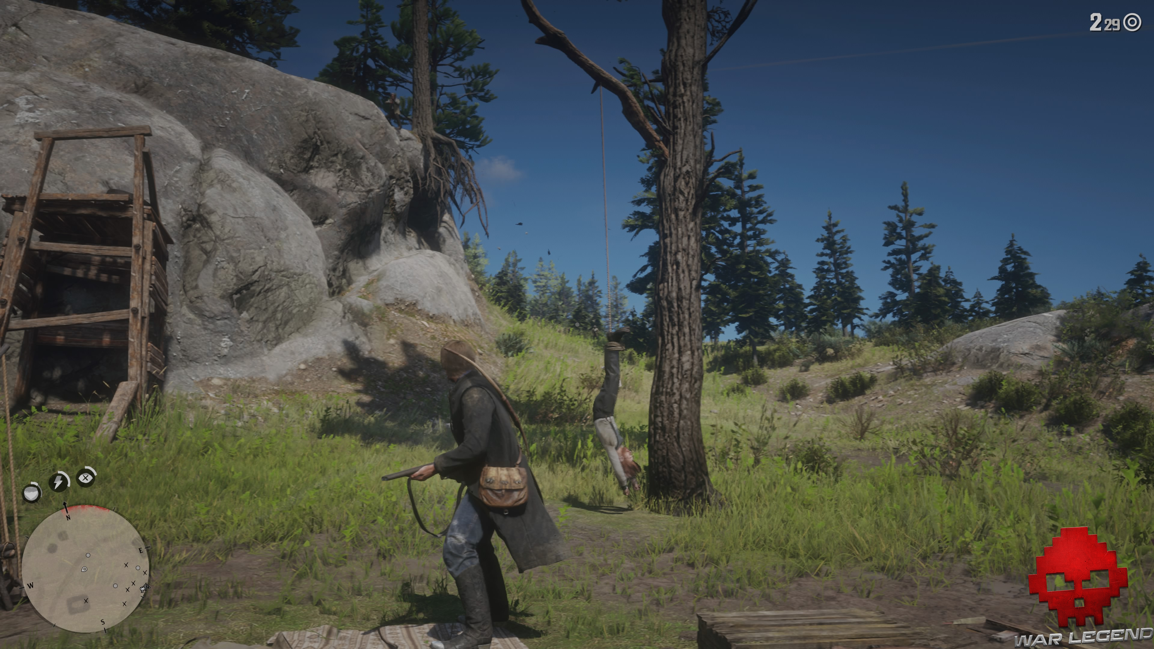Soluce Red Dead Redemption 2 les premiers seront les derniers sean pendu par les pieds à un arbre