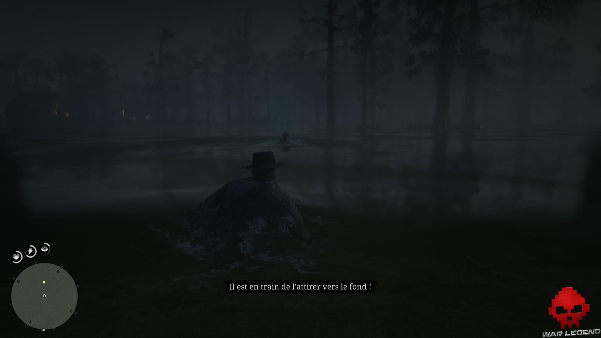 soluce red dead redemption 2 promenade dans le bayou Jules attiré dans l'eau