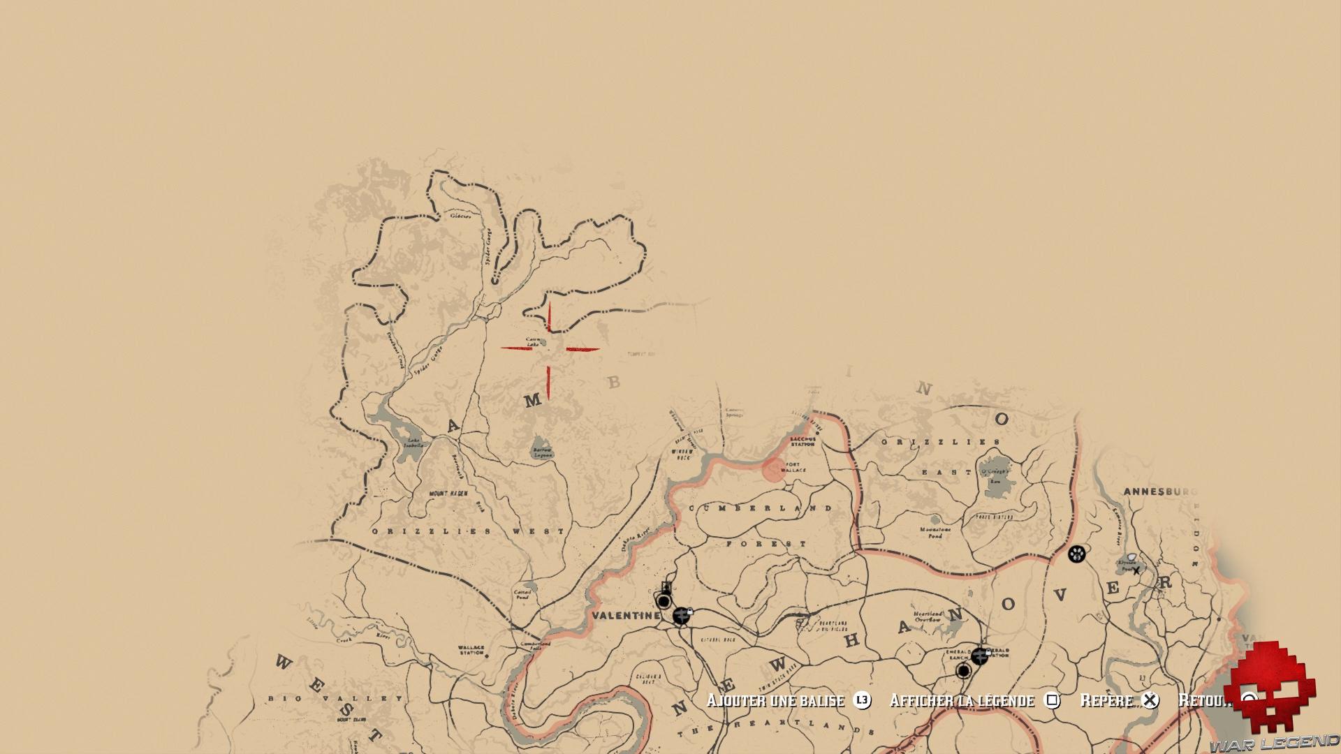 soluce red dead redemption 2 trésor de la piste empoisonnée carte cairn lake plan général